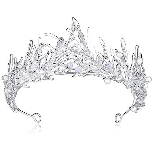 Kostüm Haar Königin - Coucoland Braut Tiara Hochzeit Krone Dekoriert mit Kristall Perlen Luxus Prinzessin Diadem Geburtstagskrone Damen Königin Krone Fasching Kostüm Accessoires (Silber)