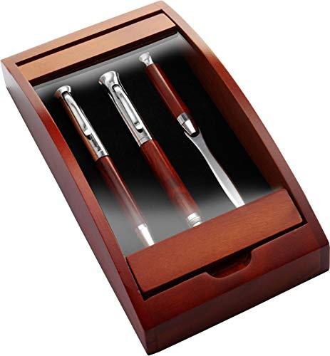 Kugelschreiber, Füllfederhalter, Brieföffner mit Holz Etui