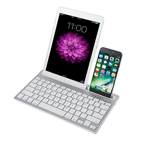 Felicy Dual Channel Multi-Device Universal Wireless Bluetooth wiederaufladbare Tastatur (Weiß)