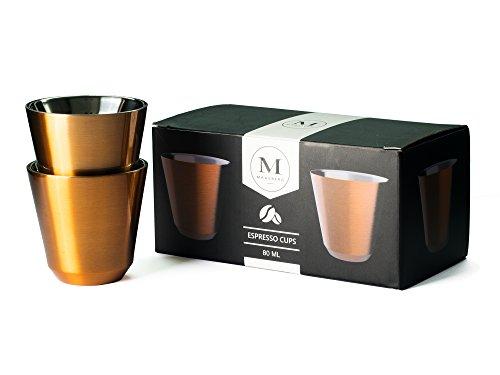 Maasberg Espressotassen-Set Espressobecher modern, Espresso Cups, Mokkatassen braun, Industrial Design | Doppelwandig aus Edelstahl in edler Kupfer-Optik | 80ml | 2er Set