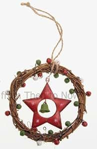 Couronne de brindilles Shabby Chic Jingle Bells Décoration à suspendre étoile pour arbre de Noël