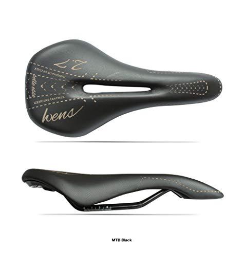 Sattel für Trekking-Fahrrad/Mountainbike, Unisex, Modell WENS 2.7, Echtleder + Gel, für Stadtrad, handgefertigt in Italien 2020 - Schwarz