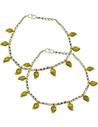 High Trendz Oxidised Two Tone Silver Gold Stylish Anklets Traditional Payal With Gold Leaves For Women And Girls