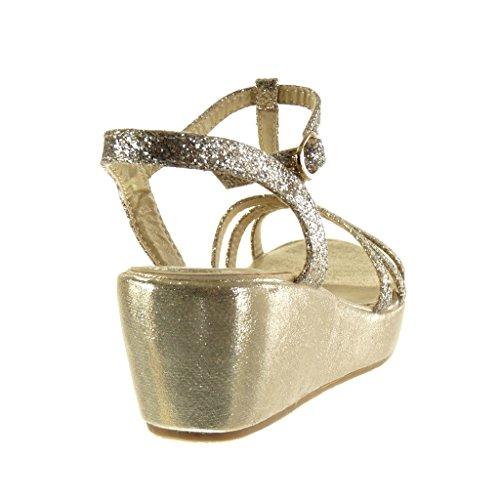 Angkorly Scarpe Da Donna Sandali - Zeppe - T-bar - Multi-briglia - Glitter - Tacco Alto Lucido Zeppa 6 Cm Oro