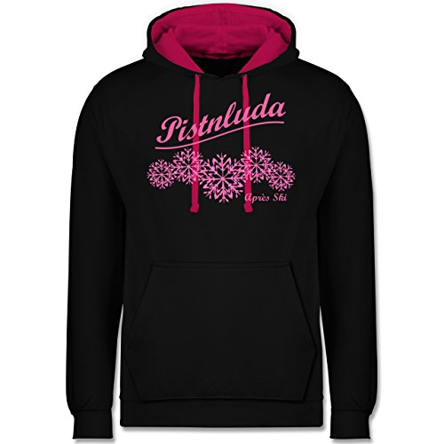 Après Ski - Pistnluda - Schneeflocke pink - Kontrast Hoodie Schwarz/Fuchsia