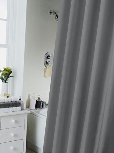 Waterline Duschvorhang, wasserabweisend, mit 12Halteringen taubengrau Polyester-schwimmen-kappen