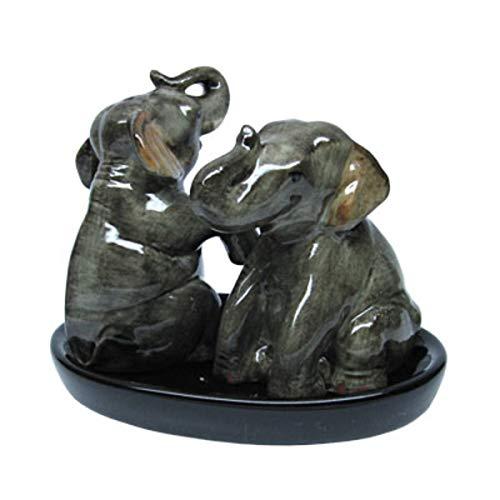 B2SEE LTD Elefant Salz und Pfefferstreuer Set Keramik Elefanten auf schwarzen Unterteller