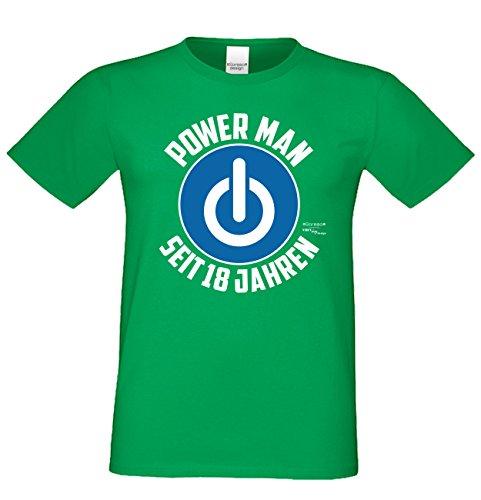 Geschenk zum 18. Geburtstag Herren T-Shirt und Geburtstags Urkunde Power Man Seit 18 Jahren Geschenkidee volljährigkeit grün_09