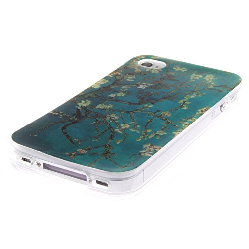 Coque Housse pour Apple iPhone 4/4S, Apple iPhone 4/4S Coque Silicone Etui Housse, Apple iPhone 4/4S Souple Coque Etui en Silicone, Apple iPhone 4/4S Silicone Transparent Case TPU Cover, Cozy Hut Etui Arbre d'amande