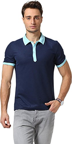Sportides Herren Polo Shirt Fashion Leisure Contrast Collar Short Sleeve T_Shirt Tops JZA034 Navy
