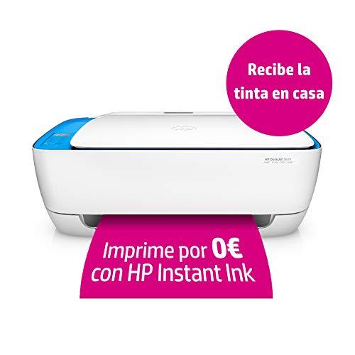 HP Deskjet 3639 – Impresora multifunción inalámbrica (Tinta, Wi-Fi, copiar, escanear, 600 x 300 PPP, Modo silencioso) Color Blanco y Azul