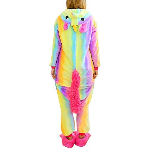 Einhorn Kostüm für Erwachsene - Plüsch Jumpsuit Schlafanzug Unisex Karikatur Cosplay Nachtwäsche Größe für Höhe 150-188 CM Regenbogen