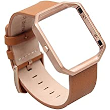 FitBit Blaze, en cuir Taille S, v-moro Bracelet Smart Bracelet de Montre en Cuir Véritable Bracelet de rechange avec cadre en métal pour bracelet Fitbit Blaze Smart Fitness Montre