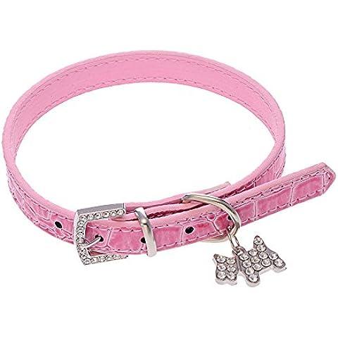 Ularma Collar de perro, Seguridad ajustable longitud collar para cachorro o gato (L, rosa)