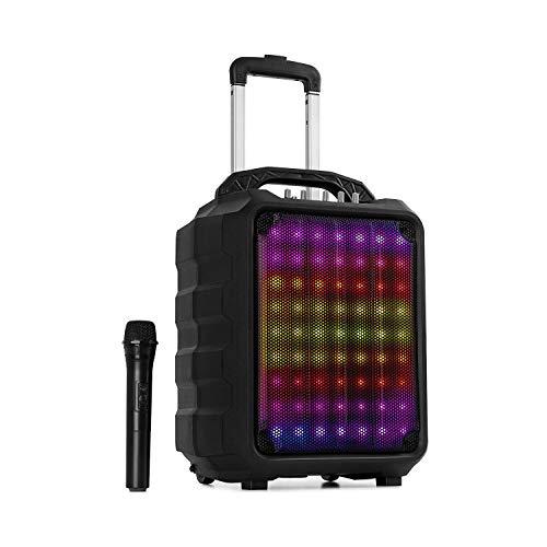 "auna Moving 80.1 LED mobile PA-Anlage • 100 Watt max. • XMR-Bass-Technology • 8\"" Woofer / 3\"" Tweeter • LED Lichteffekt • UHF-Mikrofon • Media-Player: USB/SD/Bluetooth/AUX/UKW • schwarz"