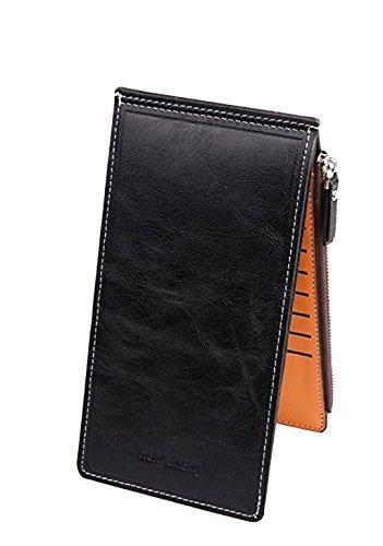Ducomi portafoglio 18 - portafoglio unisex con zip e 18 scomparti per carte di credito, monete e contanti - idea regalo originale per natale per lui e per lei (nero)