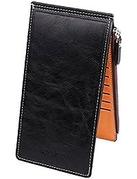 Ducomi®–Cartera unisex con cremallera y 18apartados para tarjetas de crédito, monedas y dinero en efectivo, negro