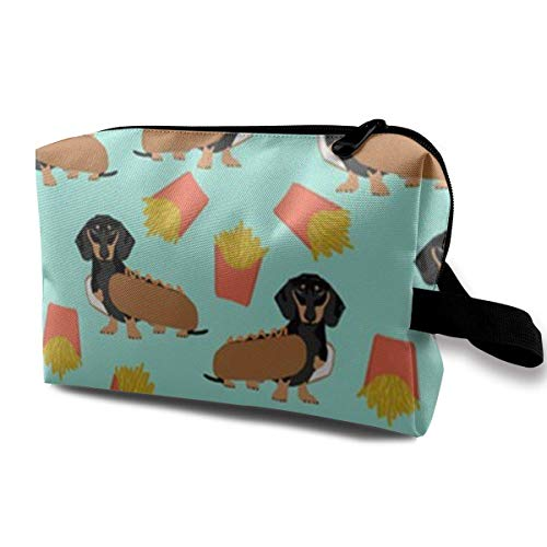 Wiener Dog and French Fries Makeup Organizer Bag Pouch Purse Cosmetic Tote Bag Carry Case - Tote Friesen