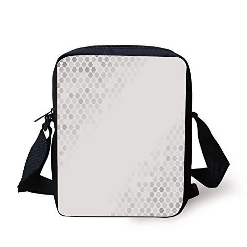 LULABE Grey Decor,Abstract Beam with Geometric Six Cornered Mosaic Style Futuristic Artsy Illustration,White Print Kids Crossbody Messenger Bag Purse