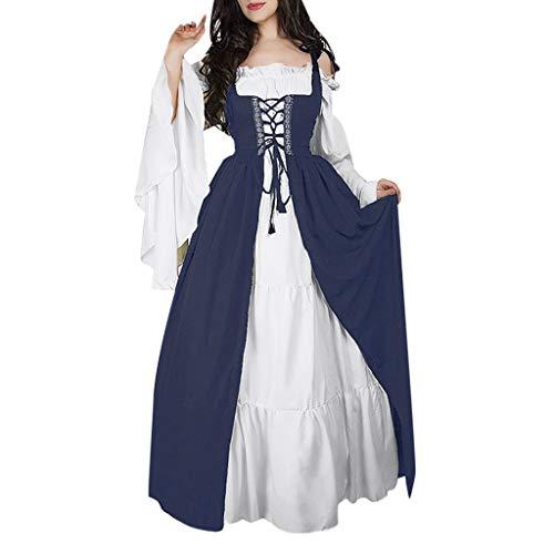 Damen Kleid Vintage Short Petal Sleeve Slash-Neck Mittelalterlichen Kleid Cosplay Kleid mit Trompetenärmel Mittelalter Party Kostüm Kleidung (Slash Kostüm Frauen)