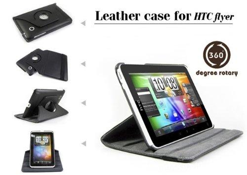360° schwarze Lederhülle Ledertasche Schutzhülle Smartcover für HTC FLYER mit rotierender Aufstellfunktion