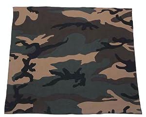 Lot de 3 bandana militaire US Army camouflage - Woodland + Urban + bleu - 55 cm x 55 cm - Airsoft - Paintball - Moto - Biker - Outdoor