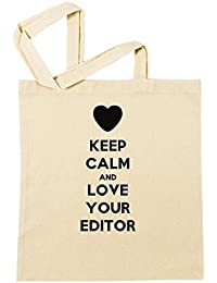 Keep Calm And Love Your Editor Bolsa De Compras Playa De Algodón Reutilizable Shopping Bag Beach Reusable