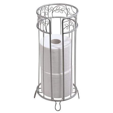 InterDesign Twigz Bath Free Standing Toilet Tissue Paper Roll Reserve, Silver