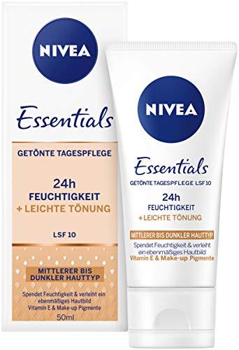 Nivea Essentials Tagespflege 24h Feuchtigkeit + Leichte Tönung mittlerer bis dunkler Hauttyp im 1er...