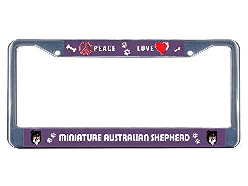 Miniatur-Kennzeichenrahmen, australischer Schäferhund, Peace-Love, Metall, perfekt für Männer und Frauen, Auto-Garadge Dekor