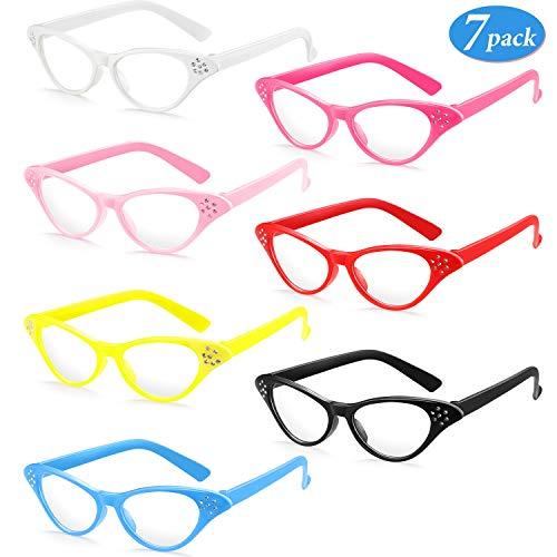 Frienda 7 Paar Katze Auge Brille mit Strass Retro 50 60 Jahre Thema Party Klassisch Brille für Vintage Stil Ankleiden Hip Hop Party Gefallen