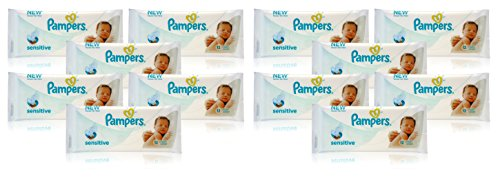 12x Pampers SENSITIVE BABY WIPES Handy Travel Size Convenience 12 WIPES PER PACK 41IRfOBYJDL