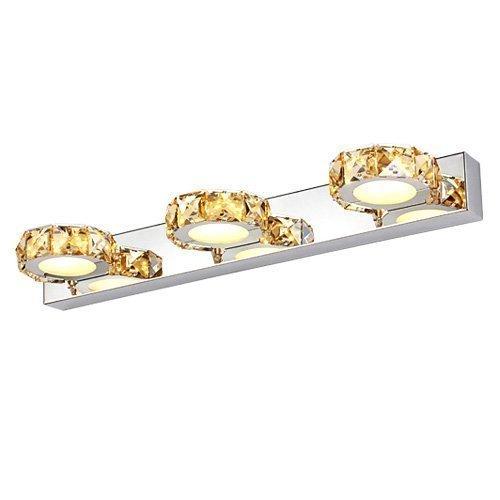 Maxmer 9W LED spiegelleuchte Champagner Kristalle Spiegellampe Badlampe Schranklampe aus Aluminum+Edelstahl Wasserdicht IP44 für Wohnzimmer Esszimmer Küche Schlafzimmer Badezimmer, Warme