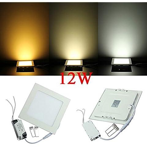 Panel de luz 85-265V Square 12W ultrafino de techo ahorro de energía LED.