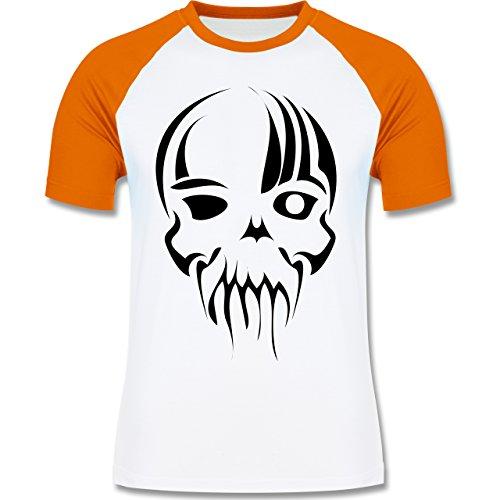 Piraten & Totenkopf - Totenkopf - zweifarbiges Baseballshirt für Männer Weiß/Orange