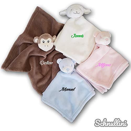 Schmusetuch mit Namen bestickt Kuscheltuch Schnuffeltuch Kuscheldecke für Baby Kinder Junge Mädchen