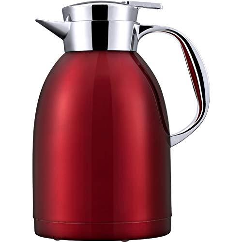 e tisch wei  matt QAQ Kessel 304 Edelstahl Doppelschicht Vakuum Isolation Kaffeekanne Haushalt Große Kapazität 1800Ml,Red,1800Ml