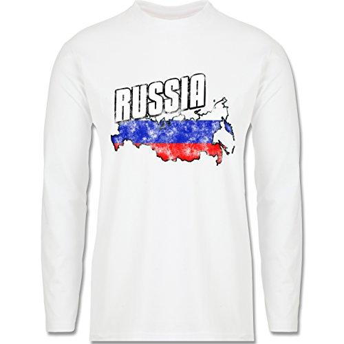 EM 2016 - Frankreich - Russia Umriss Vintage - Longsleeve / langärmeliges T-Shirt für Herren Weiß