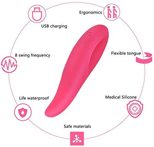 Enlove Medizinischem Silikon Stoßvibrator mit 8 Swing Vibrationsmodi Zunge Sexspielzeug für Frauen Paare G punkt Vibratoren für Sie Klitoris Vibrator mit Wiederaufladbares Oral Sex Toy Rose - 5