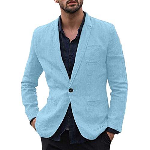 Xmiral Herren Dünn Jackett Outwear Umlegekragen Einfarbig Sport Shirt mit Tasche Slim Fit Wanderjacke Formal Geschäft Arbeitsplätze Mantel(b Himmelblau,3XL) (Abteilung 56-boot)