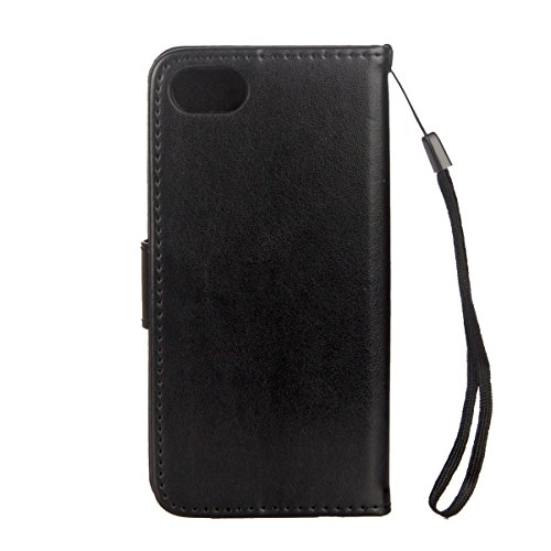Cover per iPhone 6/6s (4.7), EUWLY Portafoglio Custodia in Pelle Protettiva Cover Case Per iPhone 6/6s (4.7) Premium Retro Morbido PU Leather Wallet Cover Supporto Stand Fuction Chiusura Magnetica c Nero