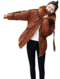 195bed205966 FNKDOR Womens Warm Winter Quilted Coat Puffer Fur Collar Hooded Long Down  Cotton Jacket Parka Outwear