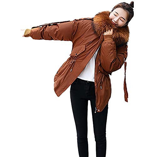 SEWORLD Winterjacke Steppjacke Daunenjacke Mantel Damen Heißer Einzigartiges Design Warmer Wintermantel Damen Mit Kapuze Jacken Kurze Daunenjacke(Braun,EU-42/CN-M)
