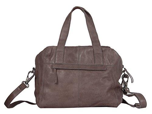 Vilenca Holland 40786, Umhängetasche, Schultertasche, Handtasche, Ledertasche Damen; 39x35x9cm (LxHxB) (Dunkel Grau) Braun