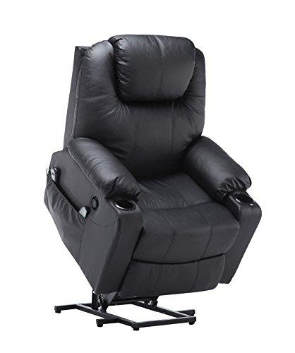 MCombo Elektrisch Aufstehhilfe Fernsehsessel Relaxsessel Massage Heizung elektrisch verstellbar USB (Schwarz)