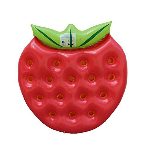 XINGQIANRU Aufblasbare Erdbeere Schwimmende Reihe Kann Trinken Wasserbecher Schwimmendes Bett (145 * 140Cm)