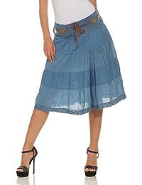 ZARMEXX falda de verano de las mujeres hasta la rodilla falda de la tela de  la cef76d81d456