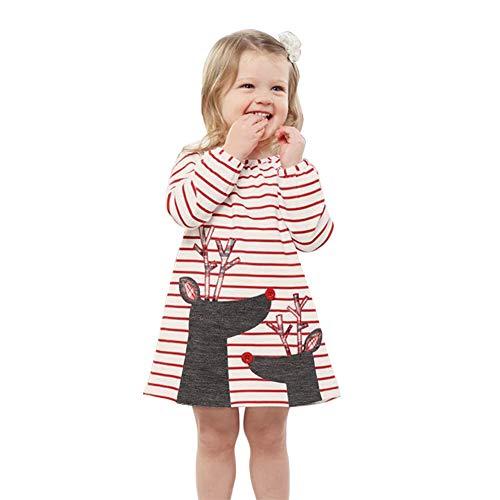 XiYuanShangMao Lässige Streifen Mädchen Langarm Kleid Cute Elk Cotton Kids Dresses Baby Ballettröckchen (Rot, 2-3 Jahre)