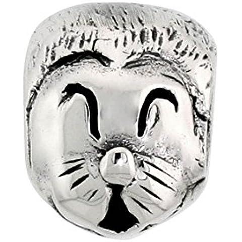 Happy Cat Face in argento puro con Charm per la maggior parte dei bracciali