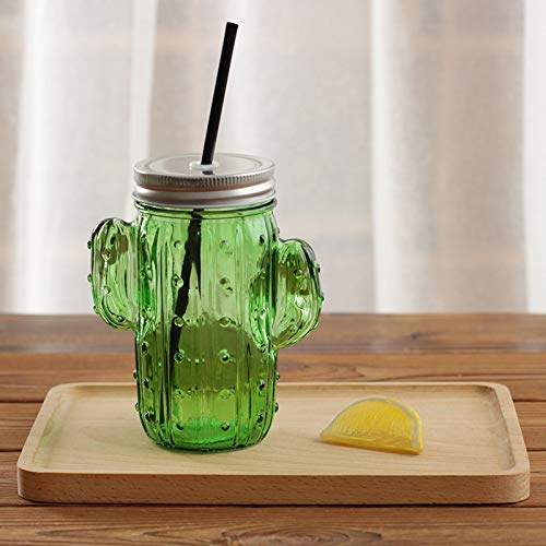 grubnos Becher Creative Cactus Glass Mason Jar Mug with Lid and Straw Cold Drink Smoothie Cup Water Glass Cup,Green Mason Jar Mug
